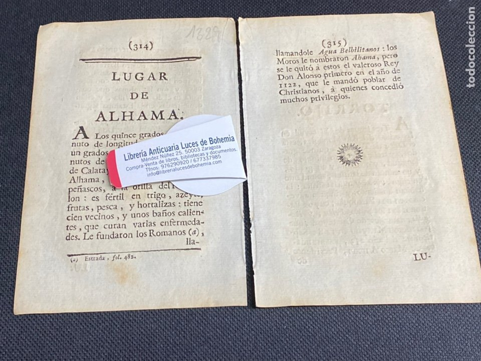 DESCRIPCIÓN DE ALHAMA DE ARAGÓN DEL AÑO 1779. IMPRESO ORIGINAL. (Coleccionismo - Documentos - Otros documentos)