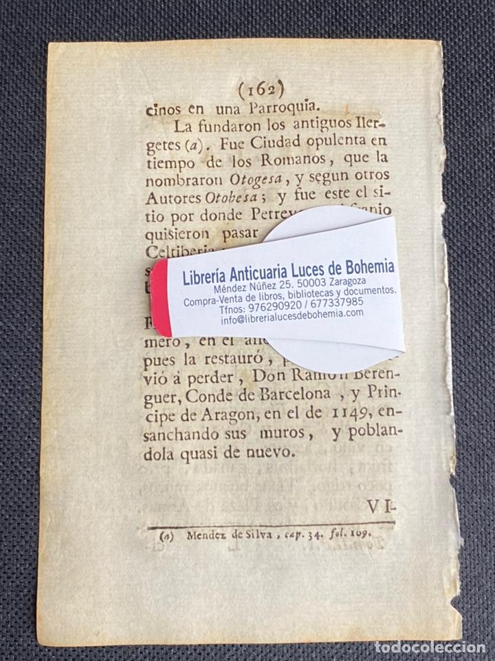 Documentos antiguos: DESCRIPCIÓN DE LA VILLA DE MEQUINENZA DEL AÑO 1779. IMPRESO ORIGINAL. - Foto 2 - 238840725