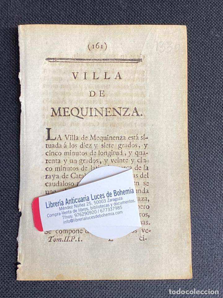 DESCRIPCIÓN DE LA VILLA DE MEQUINENZA DEL AÑO 1779. IMPRESO ORIGINAL. (Coleccionismo - Documentos - Otros documentos)
