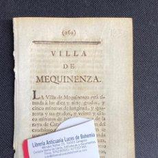 Documentos antiguos: DESCRIPCIÓN DE LA VILLA DE MEQUINENZA DEL AÑO 1779. IMPRESO ORIGINAL.. Lote 238840725