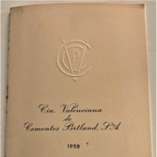 Documentos antiguos: MEMORIA COMPAÑÍA VALENCIANA DE CEMENTOS PORTLAND S.A. AÑO 1958 - VALENCIA. Lote 239422490