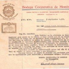 Documentos antiguos: BODEGA COOPERATIVA DE MONÓVAR - ALICANTE - 1957. Lote 239457780