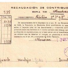 Documentos antiguos: RECAUDACIÓN DE CONTRIBUCIONES - MONÓVAR - CAÑADAS DE DON CIRO - ALICANTE - 1938. Lote 239459755
