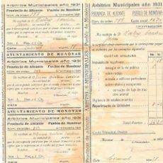Documentos antiguos: ARBITRIOS MUNICIPALES AÑO 1931 - MONÓVAR - ALICANTE. Lote 239463055