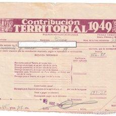 Documentos antiguos: CONTRIBUCIÓN TERRITORIAL 1949 - PINOSO - ALICANTE. Lote 239465390