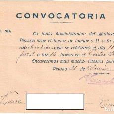 Documentos antiguos: CONVOCATORIA SINDICATO AGRÍCOLA DE PINOSO - ALICANTE - 1926. Lote 239471415