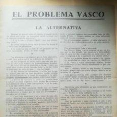 Documentos antiguos: EUSKADI. PARTIDO NACIONALISTA VASCO (EN LA CLANDESTINIDAD). EL PROBLEMA VASCO,(CIRCA 1965). Lote 269159898
