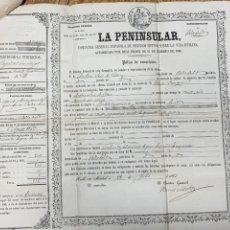 Documentos antiguos: POLIZA CAPITAL DIRECTOR FIRMA PASCUAL MADOZ HIPOTECA LA PENINSULAR 1863 VALLADOLID 10 MIL REALE. Lote 240779505