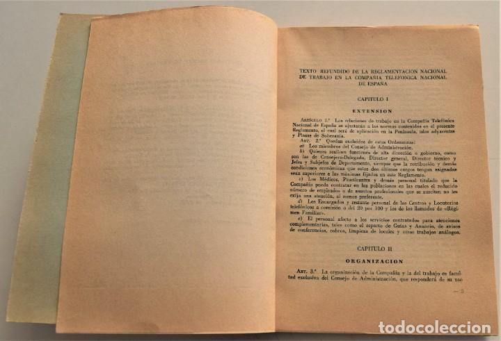 Documentos antiguos: TELEFÓNICA - REGLAMENTO NACIONAL DE TRABAJO Y REGLAMENTO DE RÉGIMEN INTERIOR - MADRID 1963 - Foto 4 - 240926850