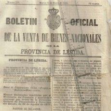 Documentos antiguos: 1880 VENTA DE BIENES NACIONALES CASTELLÒ DE FARFAÑA, TARTAREU - ABELLANES, TRAGÔ DE NOGUERA. Lote 241710835