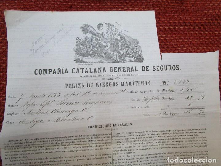 Documentos antiguos: VIGO 1863 - POLIZA FLETAMENTO VAPOR LORENZO SEMPRUN A BARCELONA, PAÑOS, CATALANA DE SEGUROS +INFO - Foto 2 - 241897630