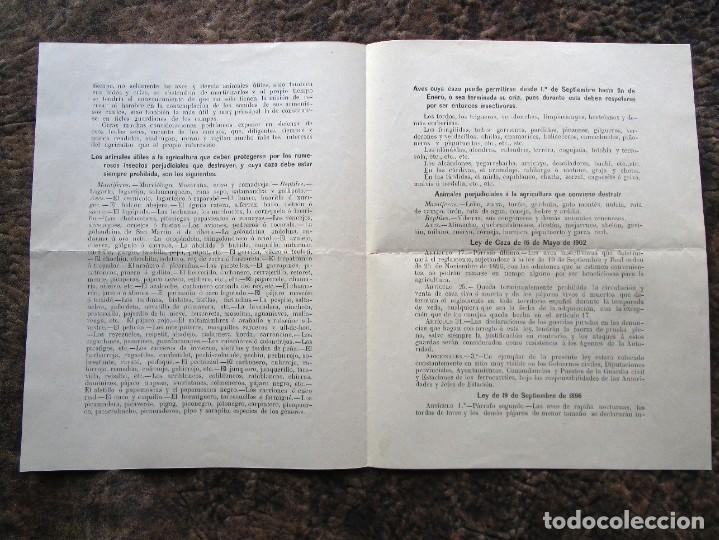 Documentos antiguos: antigua circular consejo provincial de fomento proteccion de las aves año 1911 - Foto 2 - 242853970