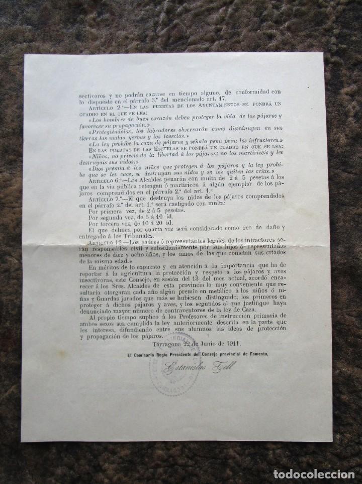 Documentos antiguos: antigua circular consejo provincial de fomento proteccion de las aves año 1911 - Foto 3 - 242853970