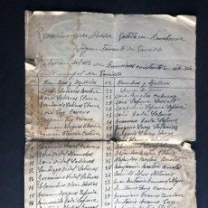 Documentos antiguos: PANILLO ( GRAUS - HUESCA ) AÑO 1940 / LISTA DE VECINOS CON DERECHO A RACIONAMIENTO / SELLO REPUBLICA. Lote 243400985