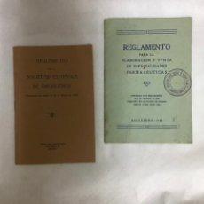 Documentos antiguos: REGLAMENTO DE FARMACÉUTICAS Y DROGEROS AÑOS 20. Lote 243446855
