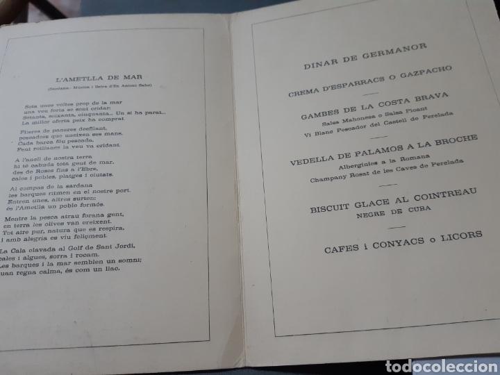 Documentos antiguos: Menú del dinar de germanor de l ajuntament de Palamós, any 1975 - Foto 2 - 243451610