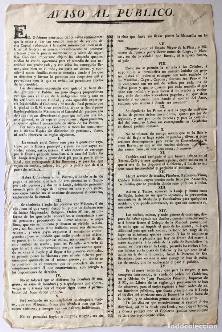 AVISO AL PUBLICO. EL GOBIERNO PENETRADO DE LOS VIVOS SENTIMIENTOS QUE LE CAUSA EL VER TAN CRECIDO... (Coleccionismo - Documentos - Otros documentos)