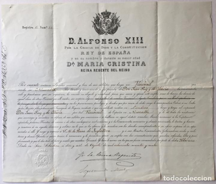 D. ALFONSO XIII POR LA GRACIA DE DIOS Y LA CONSTITUCION REY DE ESPAÑA Y EN SU NOMBRE Y DURANTE SU... (Coleccionismo - Documentos - Otros documentos)