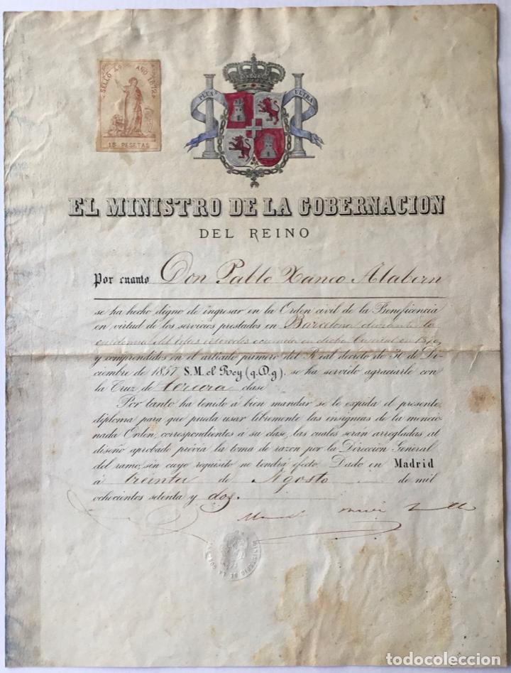 EL MINISTRO DE LA GOBERNACIO DEL REINO POR CUANTO DON PABLO XANCO ALABERN SE HA HECHO DIGNO DE... (Coleccionismo - Documentos - Otros documentos)