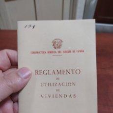 Documents Anciens: ALICANTE REGLAMENTO DE UTILIZACIÓN DE VIVIENDAS 1958. Lote 243759735