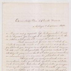 Documentos antiguos: CARTA DE ANTONIO GUEROLA Y PEIROLÓN, GOBERNADOR DE MÁLAGA A POSADA HERRERA,1862. ASUNTO CHUSCO. Lote 244771785