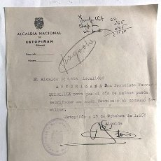 Documentos antiguos: ESTOPIÑAN ( HUESCA ) AÑO 1958 / AUTORIZACION PARA SACRIFICAR UN CERDO PARA CONSUMO FAMILIAR. Lote 244909750