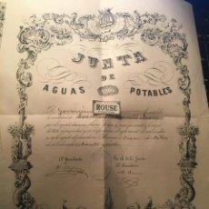 Documentos antiguos: MANRESA - TITULO DE PROPIEDAD - JUNTA DE AGUAS POTABLES DE MANRESA 1887 IMPA. Y LIT. DE J. ABADAL. Lote 245081610