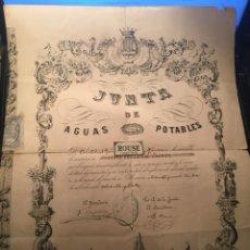 Documentos antiguos: MANRESA - TITULO DE PROPIEDAD - JUNTA DE AGUAS POTABLES DE MANRESA 1887 IMPA. Y LIT. DE J. ABADAL. Lote 245081985