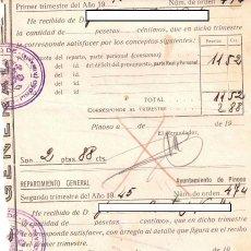 Documentos antiguos: AYUNTAMIENTO DE PINOSO - ALICANTE - 1945 - REPARTIMIENTO GENERAL. Lote 245198685