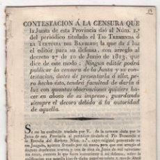 Documentos antiguos: CONTESTACION A LA CENSURA DEL PERIODICO TIO TREMENDA O LA TERTULIA DEL BARBERO. SEVILLA, 1820. Lote 245904470
