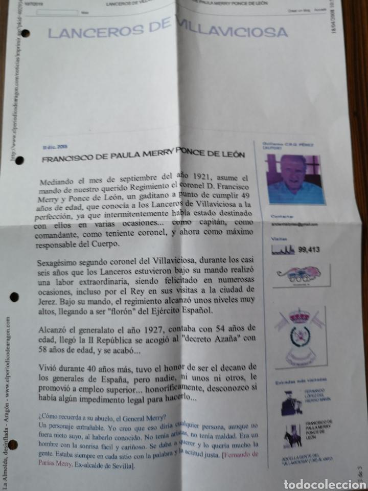 Documentos antiguos: T0F1. CARTA. LANCEROS DE VILLAVICIOSA. FRANCISCO DE PAULA MERRY PONCE DE LEON - Foto 3 - 246053125