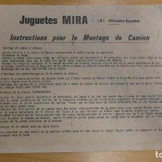 Documentos antiguos: INTRUCCIONES MONTAJE CAMIONES . JUGUETES MIRA .. Lote 247079640