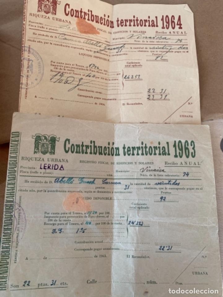 2 DOCUMENTOS DE CONTRIBUCIÓN TERRITORIAL, AÑOS 1963 Y 1964 (Coleccionismo - Documentos - Otros documentos)