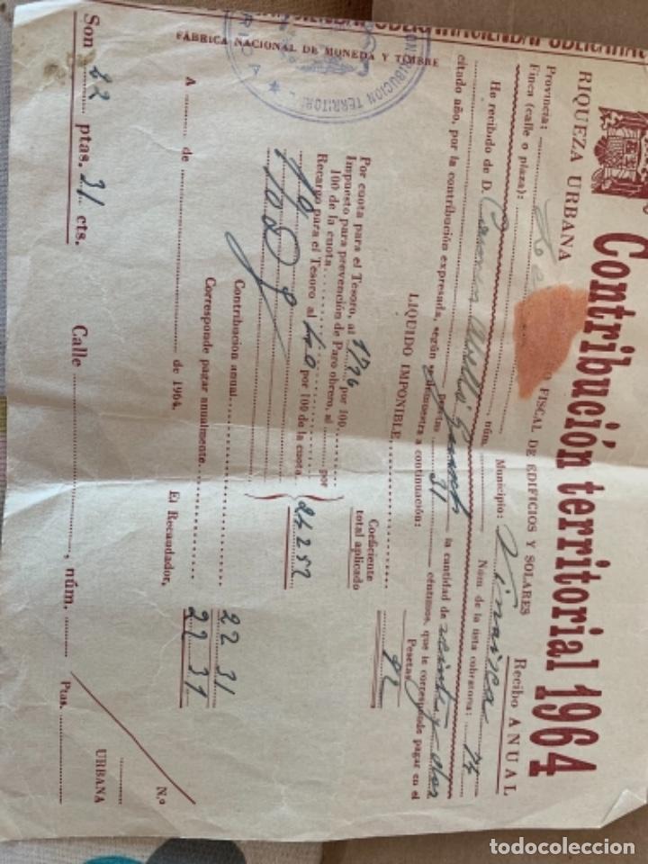 Documentos antiguos: 2 documentos de Contribución territorial, años 1963 y 1964 - Foto 3 - 249348520