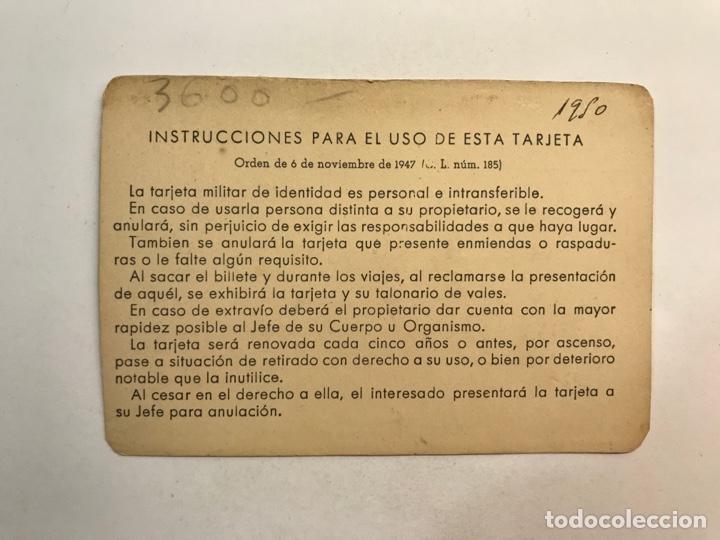 Documentos antiguos: EJÉRCITO DE TIERRA VALENCIA , Tarjeta de Identidad Alférez de Complemento. Ingenieros (a.1949) - Foto 2 - 251727250