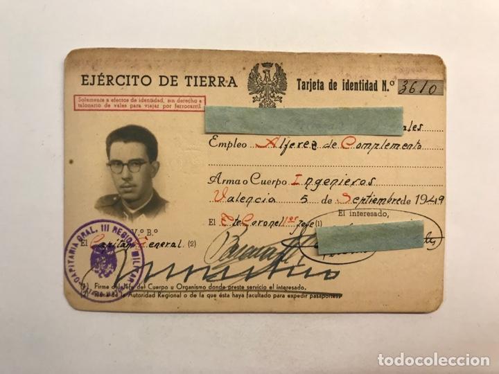 EJÉRCITO DE TIERRA VALENCIA , TARJETA DE IDENTIDAD ALFÉREZ DE COMPLEMENTO. INGENIEROS (A.1949) (Coleccionismo - Documentos - Otros documentos)