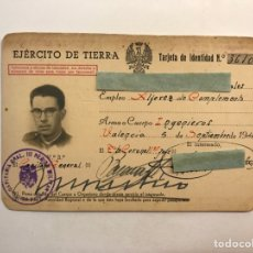 Documentos antiguos: EJÉRCITO DE TIERRA VALENCIA , TARJETA DE IDENTIDAD ALFÉREZ DE COMPLEMENTO. INGENIEROS (A.1949). Lote 251727250