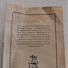 Documentos antiguos: COMUNIDAD DE REGANTES DE SUECA (VALENCIA) ESCRITO PROYECTO REGULACIÓN RÍOS JÚCAR Y SEGURA AÑO 1957. Lote 252320060