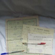 Documentos antiguos: POLIZA Y RECIBOS SEGURO ROBO LA PREVISIÓN NACIONAL - GRANADA 1936. Lote 254070780