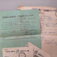 Documentos antiguos: LOTE DOCUMENTOS TELEGRAFO REPUBLICA ARGENTINA 1916. Lote 254164875