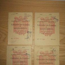 Documentos antiguos: LOTE DE 4 CARTILLAS DE ABASTECIMIENTO. DIFERENTES FAMILIAS AÑO 50.. Lote 254421595