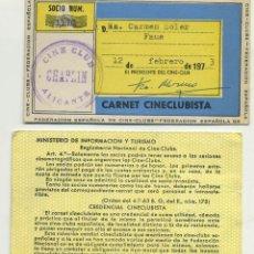 Documentos antiguos: 2 TARJETAS CARNET DE SOCIO DEL CINE CLUB CHAPLIN ALICANTE AÑO 1975. Lote 254455300