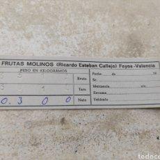 Documentos antiguos: TARJETA DE PESO FRUTAS MOLINOS S.A - RICARDO ESTEBAN CALLEJO - FOYOS - VALENCIA -. Lote 254455745