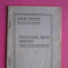 Documentos antiguos: LIGA DE INQUILINOS DE AVILES Y SU CONCEJO FIRMADO LA VOZ DE AVILES 1920 ,. Lote 254615810