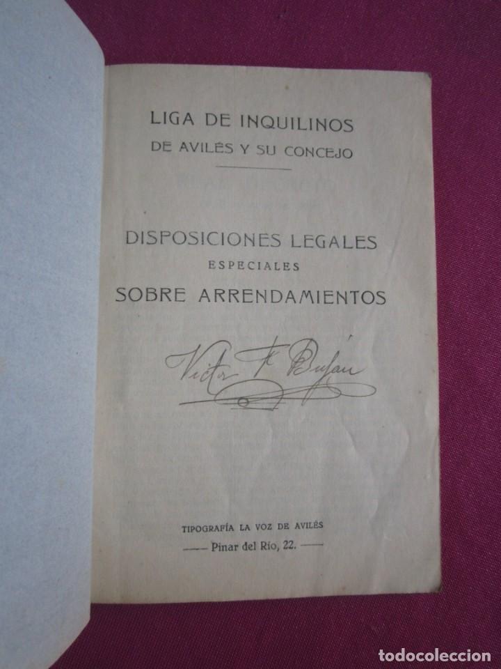 Documentos antiguos: LIGA DE INQUILINOS DE AVILES Y SU CONCEJO FIRMADO LA VOZ DE AVILES 1920 , - Foto 2 - 254615810