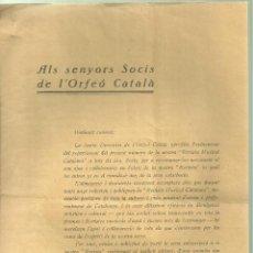 Documentos antiguos: 3960.-ORFEO CATALA-CLAUSURAT DICTADURA PRIM O DE RIVERA-ANY 1925-CARTA ENVIADA AL GOBERNADOR CIVIL. Lote 254707610