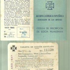Documentos antiguos: C3.- TARJETA DE ACCION CATOLICA + CEDULA DE INSCRIPCION DE SOCIA - ASOCIACION DE LAS JOVENES. Lote 255934525