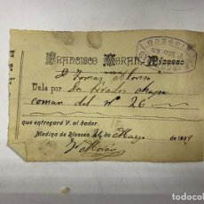 Documentos antiguos: MEDINA DE RIOSECO, 1909. FRANCISCO MORAN. VALE POR 2 TIRAS DE CHAPA. VER. Lote 256115505