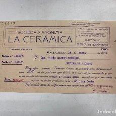 Documentos antiguos: MEMBRETE. SOCIEDAD ANÓNIMA LA CERÁMICA. VALLADOLID.. Lote 257459485