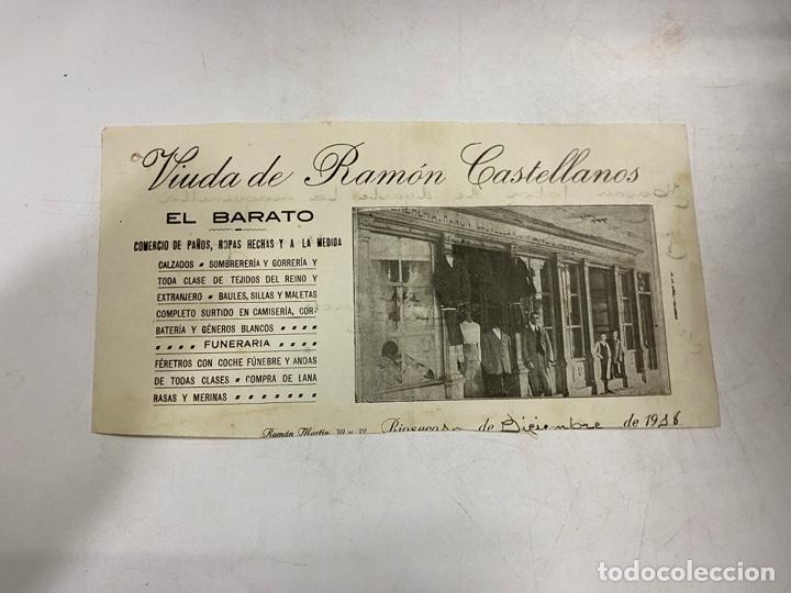 MEMBRETE. VIUDA DE RAMÓN CASTELLANOS. EL BARATO. COMERCIO DE PANOS, ROPAS HECHAS. RIOSECO (Coleccionismo - Documentos - Otros documentos)